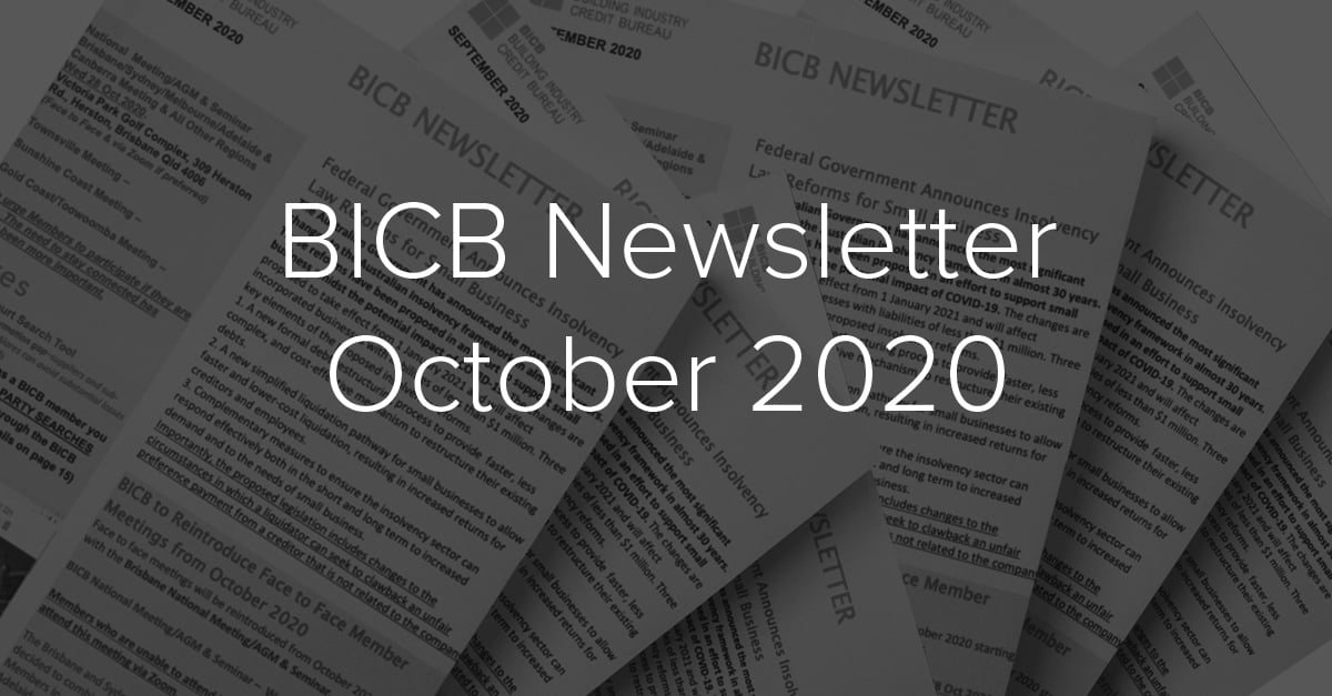 October 2020 Newsletter - BICB